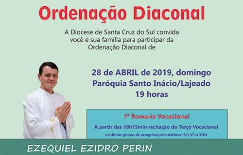 Ezequiel Ezidro Perin prepara-se  para a ordenação diaconal